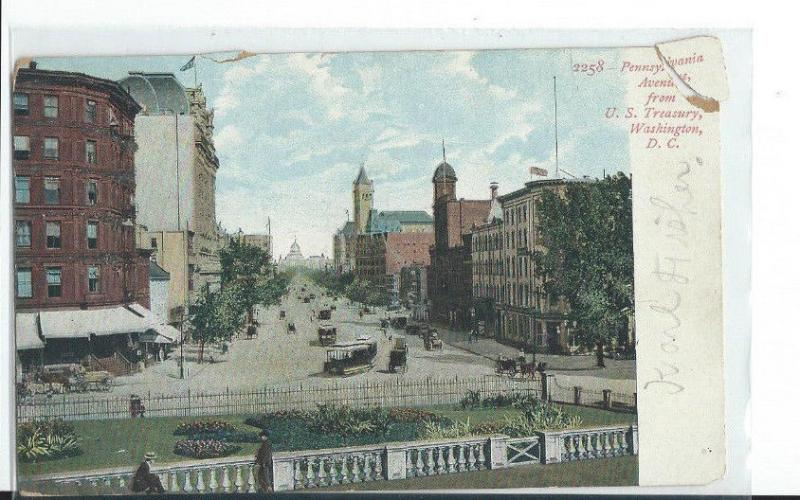 Vintage Rare Postcard 2258 Pennsylvania Ave U S Treasury 1906  Karl Fisher  # 27