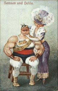 Beautiful Woman Purple - Flirts Strong Beefcake Man Athlete SAMSON DELILAH G19