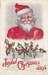 CHRISTMAS; Joyful days, Santa Claus in snow fall, Holly, 00-10s