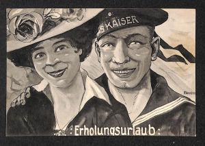 Military Navy Sailor marine couple glamour german postcard