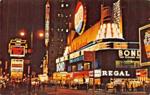 NEW YORK CITY-TIMES SQUARE AT NIGHT-LARGE PEPSI BUTTON-CIGARETTE POSTCARD 1960s