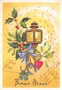 Bonne Annee, New Year, Neujahr, lamp, horseshoe good luck mistletoe heart