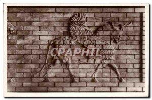 Postcard Old Louvre Antiques Asian Taurus wing (ceramic Susa)
