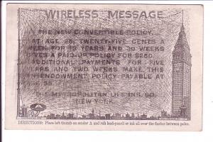 Wireless Message, Metropolitan Life Insurance, New York