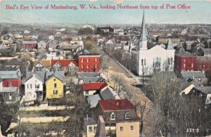 MARTINSBURG WV~BIRDS EYE VIEW LOOKING N.E. FROM TOP OF POST OFFICE POSTCARD 1911