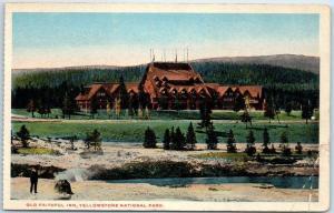 Yellowstone National Park Postcard OLD FAITHFUL INN Bird's-Eye View 1930s Unused