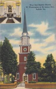 West End Baptist Church, W. Washington At St. James Avenue, Suffolk, Virginia...