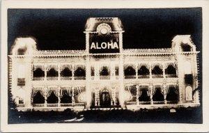 Mid-Pacific Carnival 1914 HI Hawaii Aloha Building Night Real Photo Postcard G78