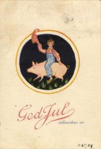 GOD JUL!, Swedish Christmas Postcard, Gnome riding a Pig (1940s)
