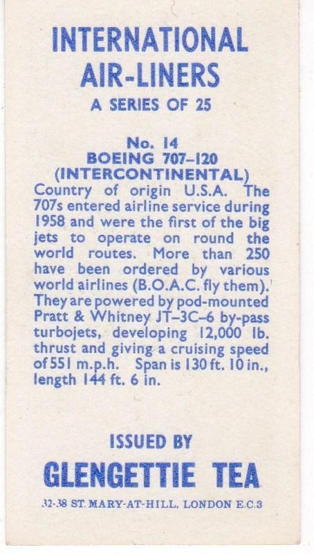 Trade Card Glengettie Tea International Air-Liners No 14 Boeing 707-120