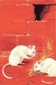 Raphael Tuck Two Mice Nesting Brick Wall Series #1019 Postcard