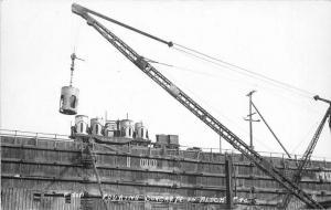 Construction Worker pouring Concrete Block #40 1930s RPPC Photo Postcard 5470