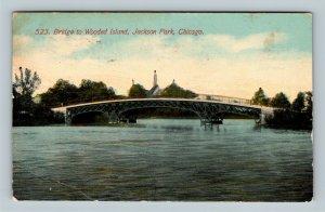 Chicago IL, Jackson Park Bridge To Wooded Island Vintage Illinois c1913 Postcard