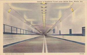 Interior Of Bankhead Tunnel Under Mobile River Mobile Alabama Curteich