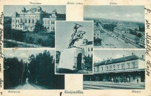 Postcard Hungary multi view statue latkep allomas varoshza architecture train