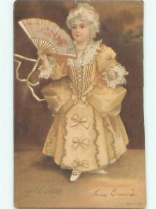 1903 PRETTY GIRL WITH WHITE HAIR HOLDS ANTIQUE FAN AC1529