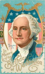 Artist impression C-1910 Patriotic Washington Birthday Postcard 5433