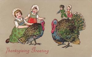 Thanksgiving Greeting, Children playing with wild turkeys, PU-1907