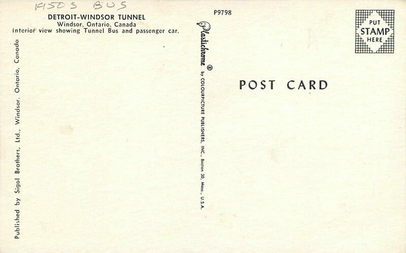 Bus Detroit Windsor Tunnel Ontario Canada Postcard Sigal Colorpicture 13144