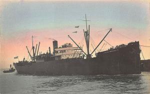 Vittoria Emanuele Cargo Steam Ship Tinted Real Photo RPPC Postcard
