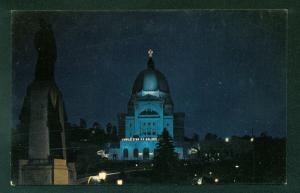 NIGHT SCENE CANADA St. Josephs Oratory Montreal Vintage Postcard