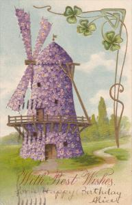 Violet flower Windmill, Shamrocks, three-leaf clover, Gold detail, With Best ...