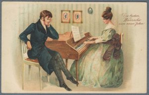 Old Chromo-Litho Postcard Fashionable Couple Girl Playing Piano
