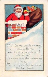 F99/ Santa Claus Christmas Postcard c1910 Chimney Toy Sack Snow 18