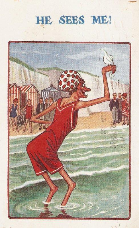 Comic old lady. He sees me! Humorous vintage English postcard