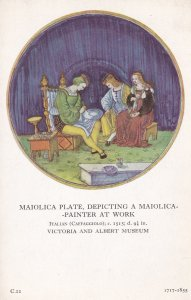 Maiolica Plate Depicting Painter At Work Museum Old Postcard