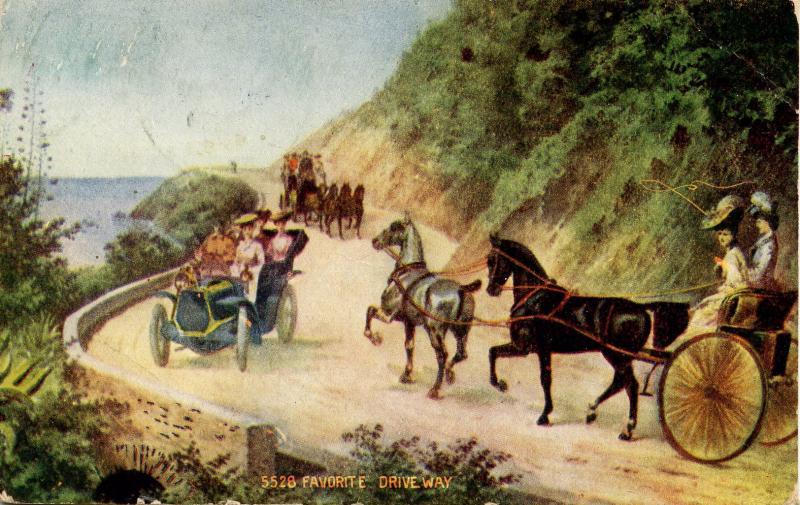 USA - A Favorite Drive Way (auto vs horse)   *RPO- St Albans & Boston Railroad