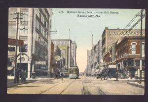 KANSAS CITY MISSOURI DOWNTOWN WALNUT STREET SCENE ANTIQUE VINTAGE POSTCARD MO.