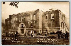 Mason City Iowa~Boys View $100,000 High School Fire~Ladder in Window~1911 RPPC