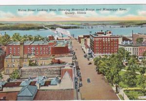 Illinois Quincy Maine Street Looking West Showing Memorial Bridge & Mississip...