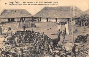 DR Congo Belge Noirs bois, chauffage des vapeurs, wood, native workers 1914