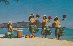 HAWAII, 1950-1960's; Kent Gihrard's Hula Nani Girls Dancing On The Beach Of W...
