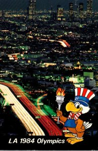 1984 Los Angeles Olympics Sam The Olympic Eagle and View Of Downtown
