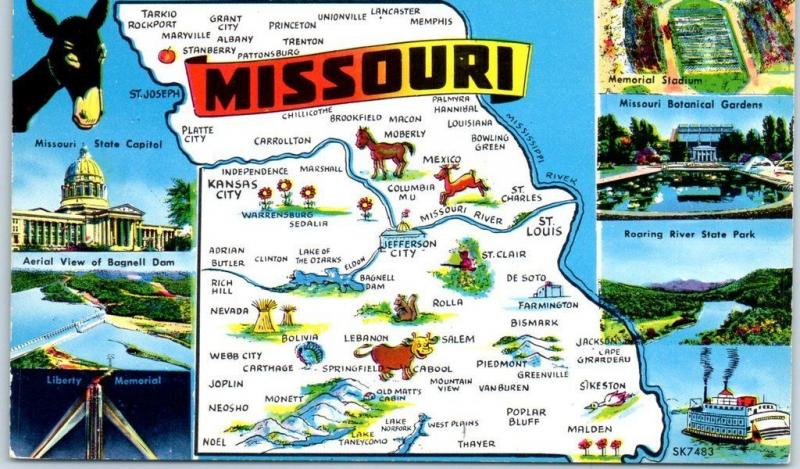 MISSOURI State Map Postcard Big Letter Multi-View Capitol Stadium Airport c1950s