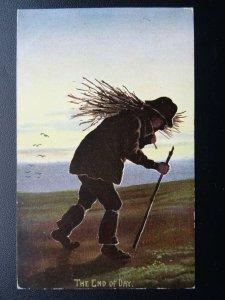 Shepherd & Flock of Sheep THE END OF DAY c1905 Postcard by M Ettlinger & Co 4677