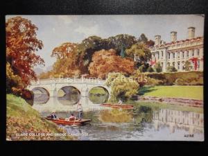 Cambridge: Clare College & Bridge c1948 by Valentine's A.1255 Art by E.W.H.