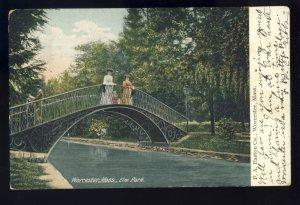 Worcester, Massachusetts/MA Postcard, Ladies On Bridge, Elm Park, 1906!