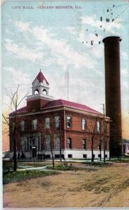 CHICAGO HEIGHTS, IL Illinois     CITY  HALL    1909    Postcard