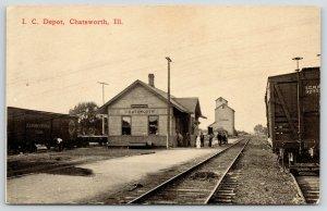 Chatsworth IL~Illinois Central Railroad Depot~Grain Elevator~Passengers~c1912