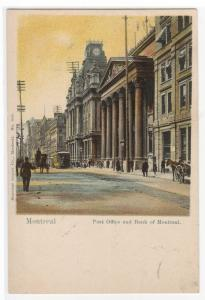 Post Office & Bank of Montreal Street Scene Montreal Quebec Canada 1905 postcard