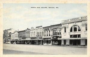 Nevada MO~North Side Square~First National Bank~Baby Beef Market~1930s B&W Linen