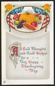Thanksgiving All Kind Thoughts... Pumpkin Fruit & Flowers Unused c1910s
