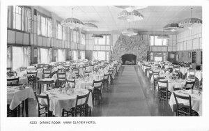 Glacier NP Montana Hotel Dining Room 1950s RPPC Photo Postcard 7094
