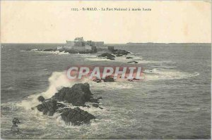 Postcard Old St Malo Fort National has Maree Haute