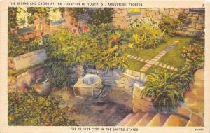 St Augustine Florida~Spring & Cross @ Fountain of Youth~1940s Linen Postcard