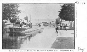 Delaware and Hudson Canal Post Card Old Vintage Antique Boat Load of Timber W...